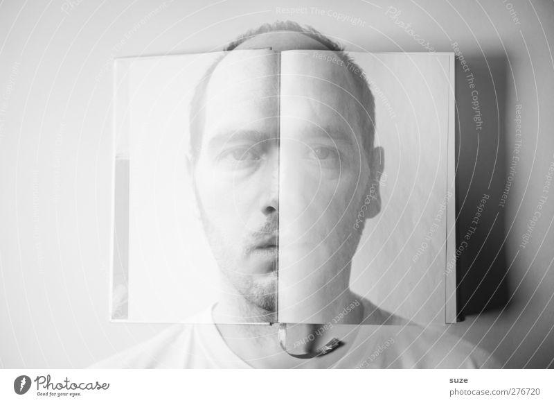 Neues Kapitel Gesicht Leben lesen Mensch maskulin Mann Erwachsene 18-30 Jahre Jugendliche Kunst Gemälde Buch Dreitagebart Denken Traurigkeit außergewöhnlich