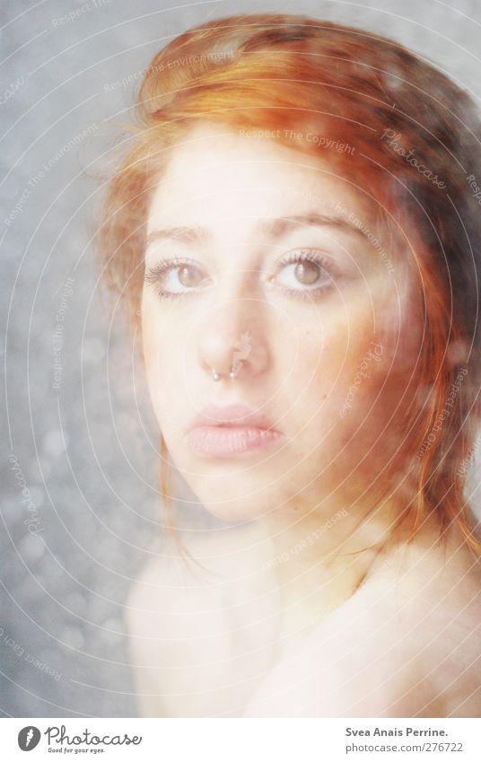 verblasst. feminin Junge Frau Jugendliche Haut Kopf Mund Lippen Rücken 1 Mensch 18-30 Jahre Erwachsene Haare & Frisuren rothaarig langhaarig Dutt nackt nass