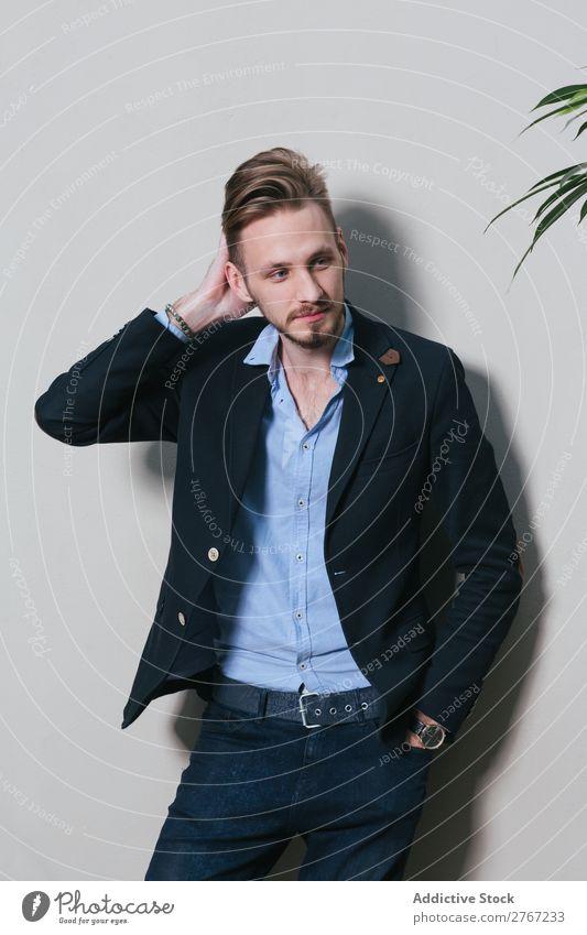 Junger stilvoller Mann an der weißen Wand Anzug Stil gutaussehend Pflanze eingetopft Mode Jugendliche Porträt gelungen Mensch Model Erfolg elegant Business