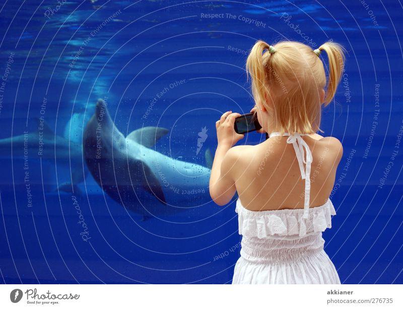 Photocase-Nachwuchs Mensch Kind Natur blau Wasser weiß Hand Mädchen Tier Umwelt feminin Haare & Frisuren Kopf Schwimmen & Baden Körper Rücken