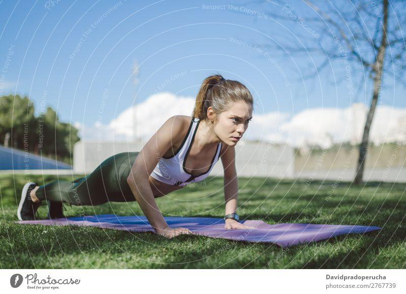 fit gesunde Frau, die gerne Sport treibt und trainiert. Lifestyle schön Körper Wellness Erholung Meditation Yoga Mensch Erwachsene Natur Wärme Park brünett