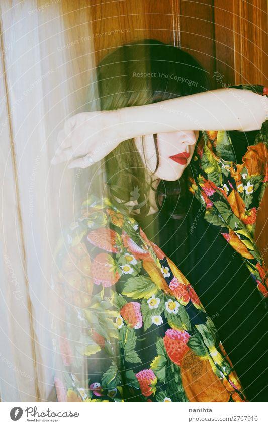 Künstlerisches Portrait mit asiatischer Inspiration elegant Stil schön Haare & Frisuren Schminke Mensch feminin Junge Frau Jugendliche Erwachsene 1 18-30 Jahre