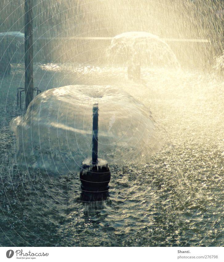 Wasserschirm Kunstwerk Wassertropfen Schönes Wetter Wellen Brunnen Stein Stahl Bewegung außergewöhnlich Flüssigkeit frisch hell nass blau grau grün schwarz weiß