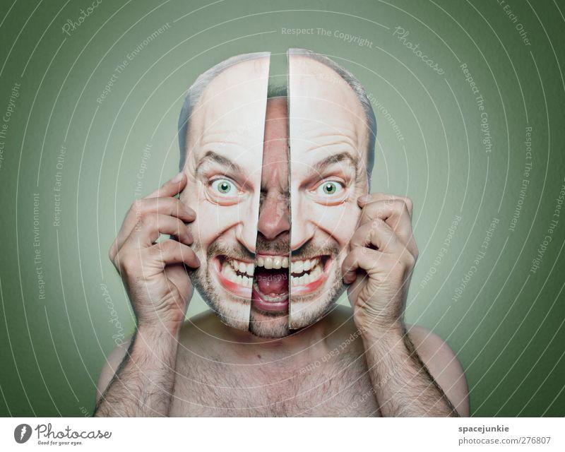 Gespaltene Persönlichkeit Mensch Mann Jugendliche grün Erwachsene Gesicht dunkel nackt Kopf Junger Mann außergewöhnlich maskulin verrückt beobachten bedrohlich