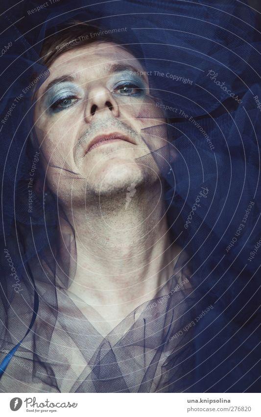 [800] dear john... Haut Gesicht Kosmetik Schminke maskulin feminin Mann Erwachsene Kopf Hals 1 Mensch 30-45 Jahre Mode Stoff Tüll Kragen blond kurzhaarig