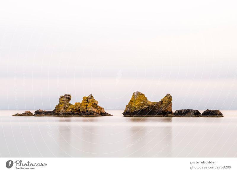 Felsformation im Meer ruhig Meditation Ferien & Urlaub & Reisen Natur Landschaft Wasser Wolkenloser Himmel Horizont Frühling Sommer Schönes Wetter Küste