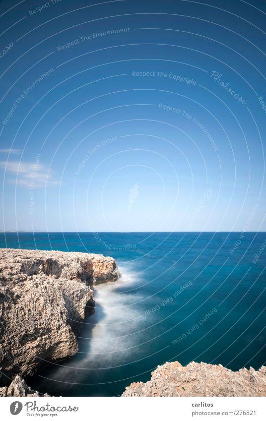 Ein letzter Blick auf's Meer ...... Umwelt Natur Urelemente Luft Wasser Himmel Sommer Schönes Wetter Felsen Küste Mittelmeer ästhetisch blau Gischt Wellen