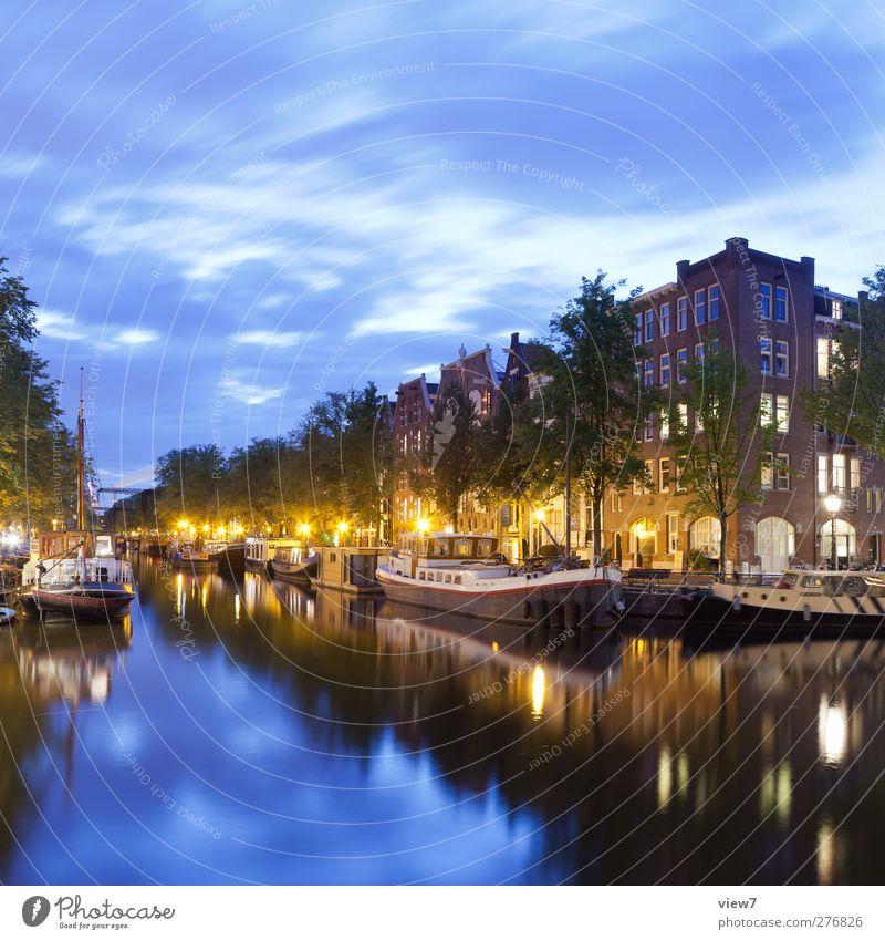 Amsterdam Himmel Schönes Wetter Stadt Hauptstadt Hafenstadt Stadtzentrum Altstadt Haus Schifffahrt Binnenschifffahrt authentisch frisch modern positiv Fluss
