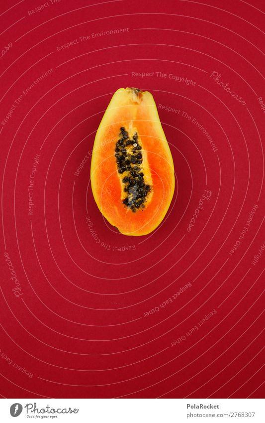 #A# Rote Exotik Kunst ästhetisch Frucht Obst- oder Gemüsestand Obstladen Papaya exotisch Südfrüchte Vitamin vitaminreich Gesunde Ernährung Diät Farbfoto