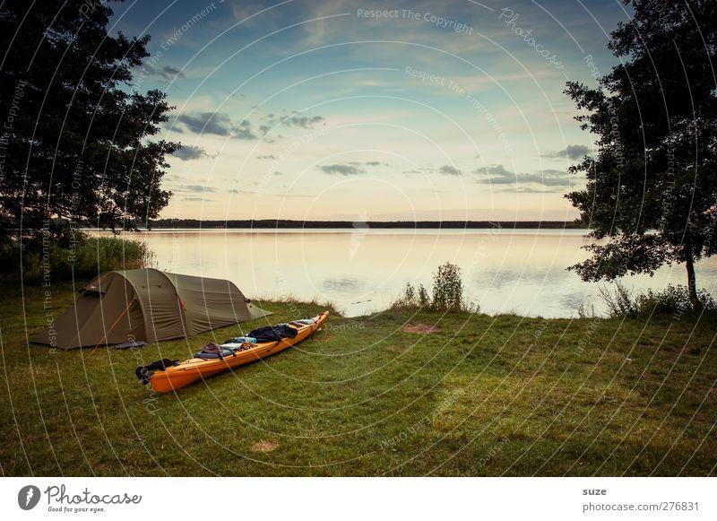 Zelt-Kanu-See Himmel Natur Wasser Ferien & Urlaub & Reisen Baum Sommer Wolken ruhig Landschaft Umwelt Wiese See Horizont Freizeit & Hobby Ausflug authentisch