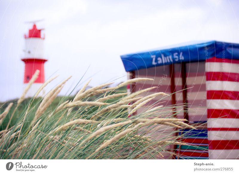Dünen Ferien & Urlaub & Reisen Natur Sand Himmel Wolken Gras Dünengras Strand Nordsee Turm Leuchtturm außergewöhnlich natürlich trist blau grün rot demütig