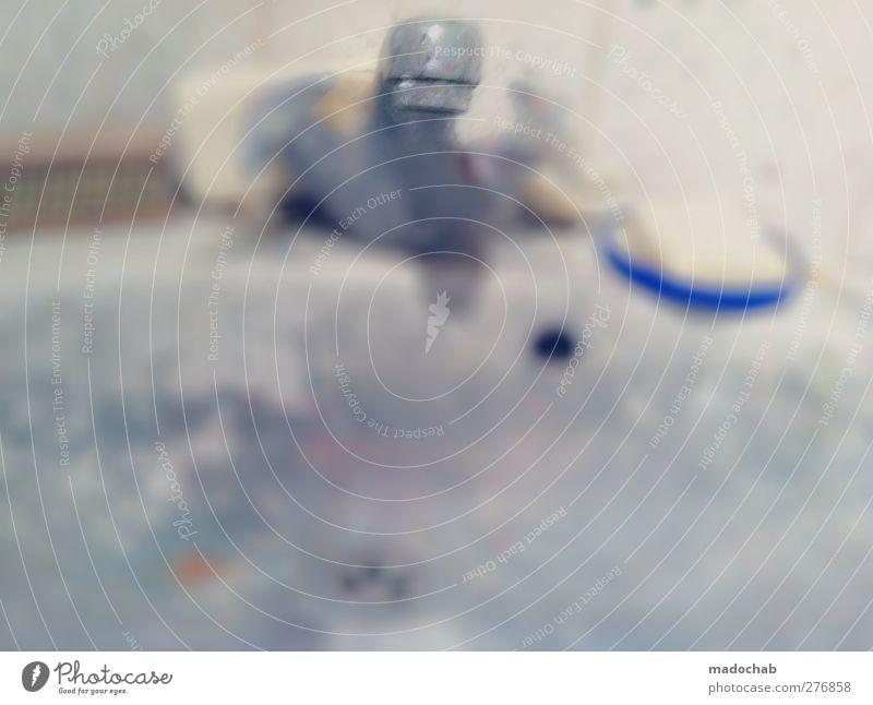 Quelle der Reinheit Kunst dreckig authentisch Häusliches Leben kaputt Bad Sauberkeit chaotisch trashig Ekel Scham Wasserhahn Waschbecken Seife