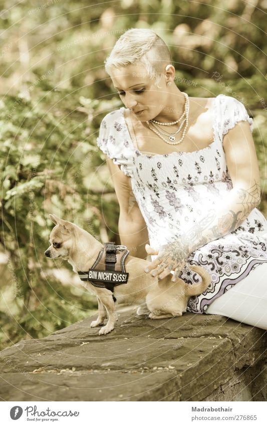 Bin nicht süß feminin Junge Frau Jugendliche Erwachsene 1 Mensch 18-30 Jahre Haustier Hund Tier Erholung sitzen Glück trendy einzigartig niedlich schön