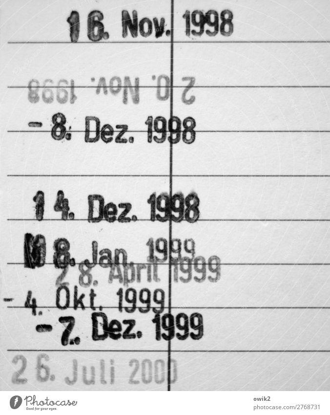Abgestempelt Karton Karteikarten Termin & Datum alt historisch Vergangenheit Linie Schwarzweißfoto Detailaufnahme Strukturen & Formen Menschenleer