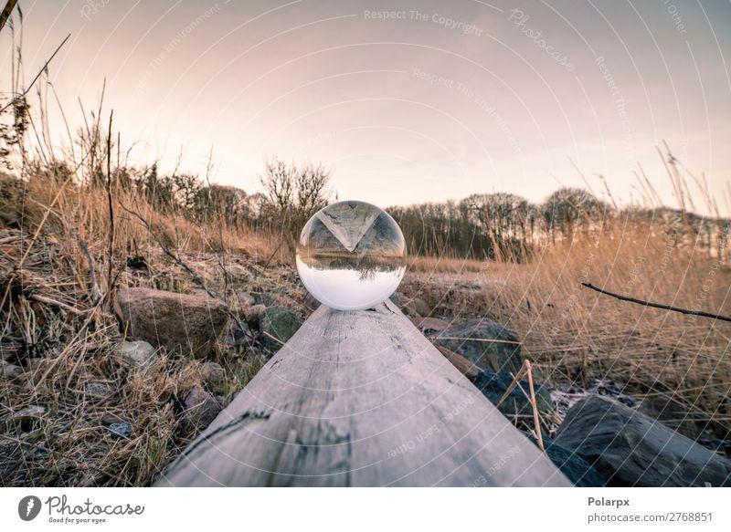 Kristallkugel in Balance auf einem Holzklotz Schalen & Schüsseln schön harmonisch Zufriedenheit Meditation Winter Spiegel Natur Landschaft Himmel Küste See