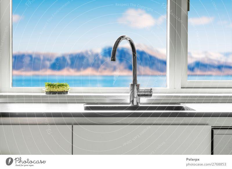 Küchenspüle am Fenster mit Aussicht Lifestyle Reichtum Stil Design Meer Berge u. Gebirge Wohnung Haus Möbel Tisch Bad Natur Architektur Herd & Backofen frisch