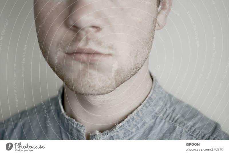 PALE Mensch maskulin Junger Mann Jugendliche Erwachsene Haut Kopf Ohr Nase Mund Lippen 1 18-30 Jahre Bekleidung Hemd Dreitagebart lernen einfach hell