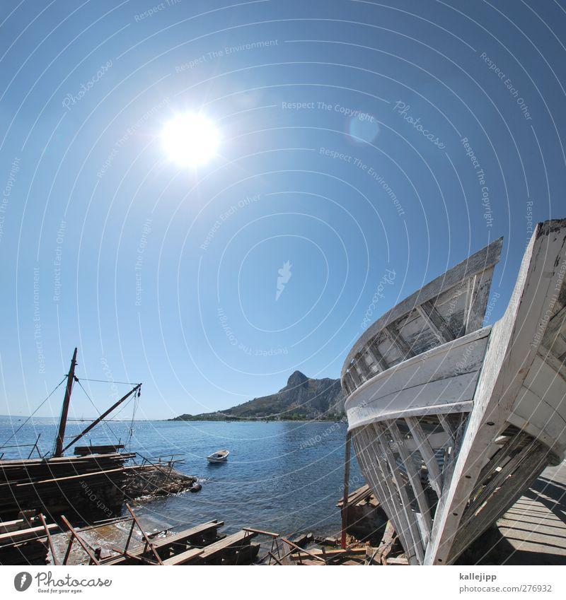 picture postcard Wasser Ferien & Urlaub & Reisen Sommer Sonne Meer Ferne Umwelt Berge u. Gebirge Küste Horizont Felsen Tourismus Ausflug Schönes Wetter Hafen