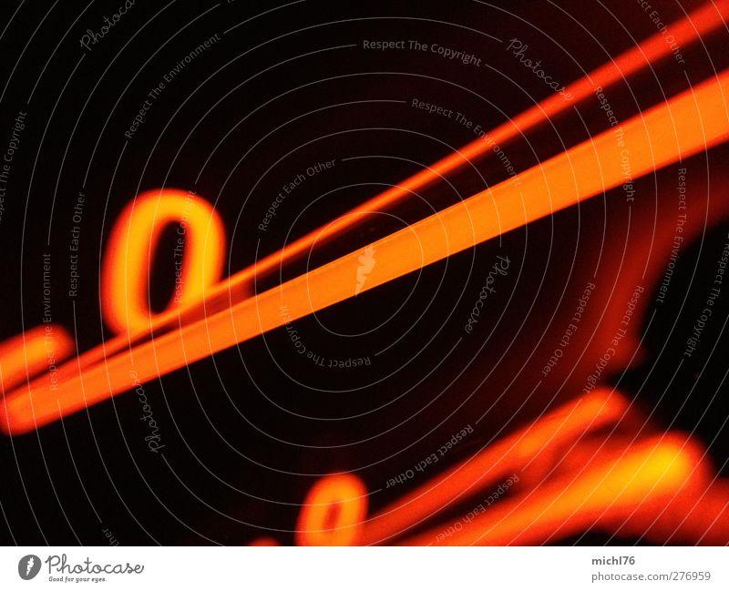 Null km/h Tachometer Technik & Technologie Verkehr Autofahren PKW Sportwagen Ziffern & Zahlen stehen orange schwarz Geschwindigkeitsbegrenzung Stillstand