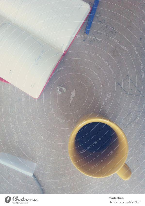 Gehirnsturm Arbeit & Erwerbstätigkeit Erfolg Lifestyle Kaffee Kommunizieren Zeichen Konzentration Schreibtisch Inspiration innovativ Bleistift Optimismus Fortschritt Notizbuch