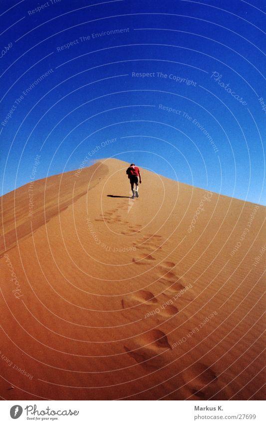 Aufstieg aufsteigen heiß Physik trocken rot Namibia Afrika maskulin Mann München anstrengen beschwerlich Wärme Durst blau Stranddüne Wüste Mensch Wege & Pfade
