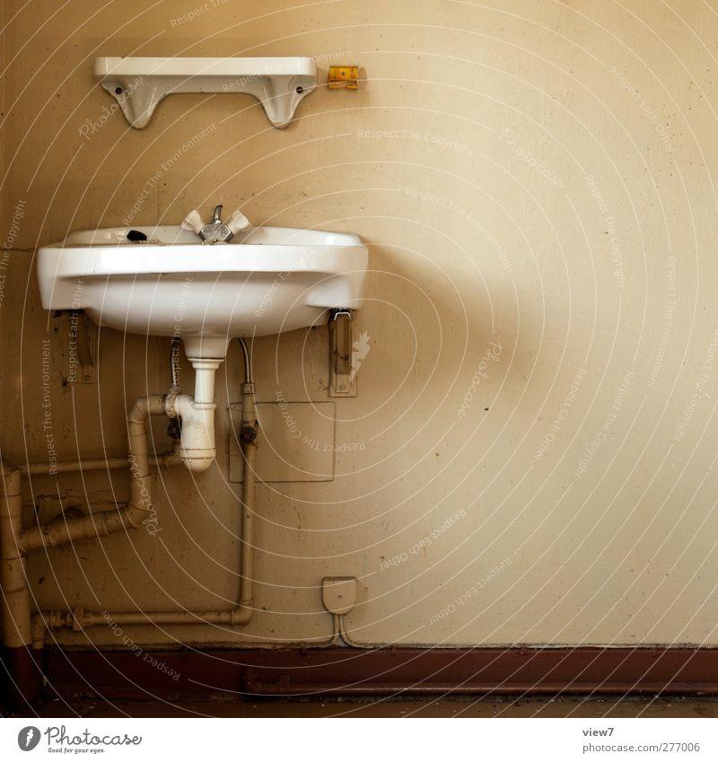 Waschbecken Innenarchitektur Raum Haus Mauer Wand Stein Beton alt authentisch dreckig einfach Klischee braun Beginn Ferne Verfall Vergangenheit Vergänglichkeit