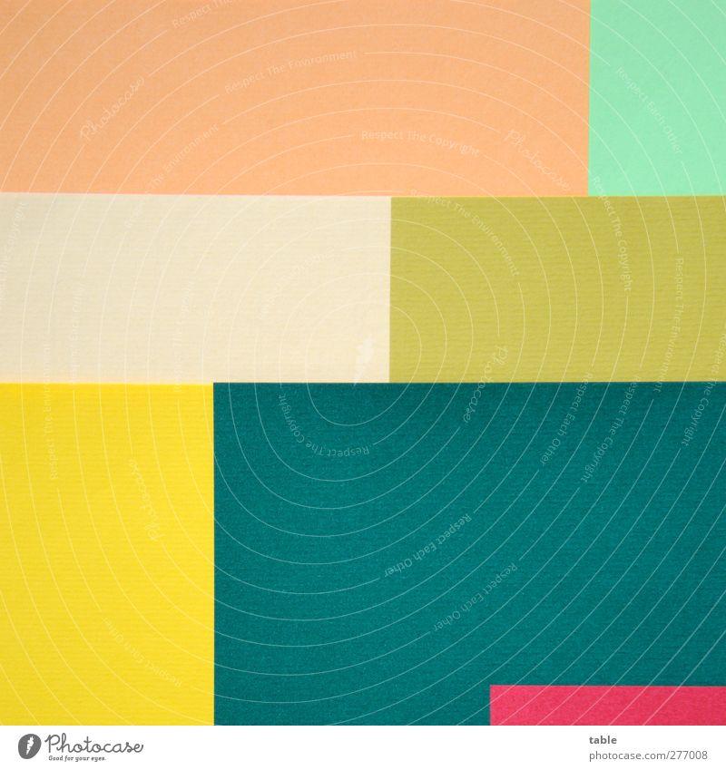 Textfreiräume grün rot Farbe gelb Kunst Linie orange gold Ordnung Design ästhetisch Papier Wandel & Veränderung einzigartig rein Konzentration
