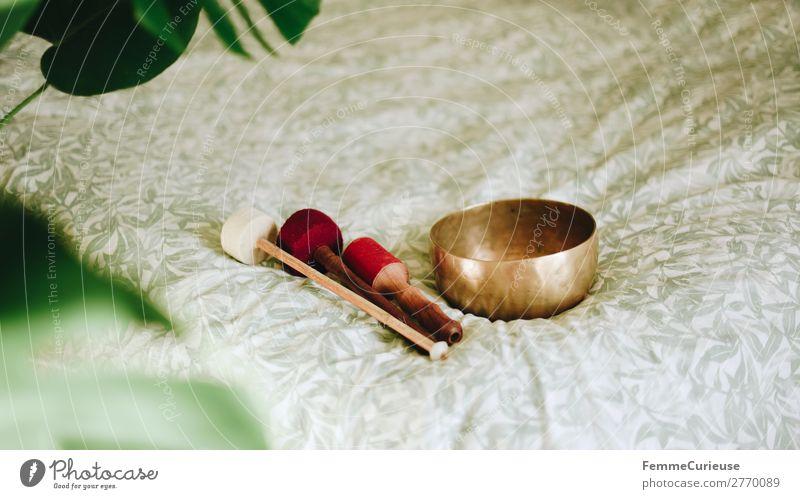 Singing bowl in a cozy home Gesundheit harmonisch Wohlgefühl Zufriedenheit Sinnesorgane Erholung ruhig Meditation Häusliches Leben achtsam Klangschale
