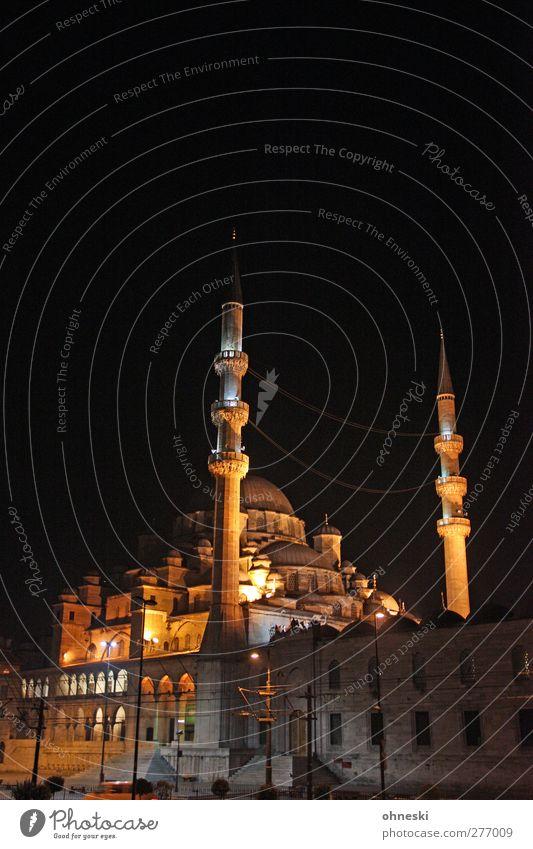 Istanbul at Night Bauwerk Architektur Moschee Minarett Sehenswürdigkeit Glaube Religion & Glaube Islam Islam-Hodscha-Minarett Farbfoto Außenaufnahme