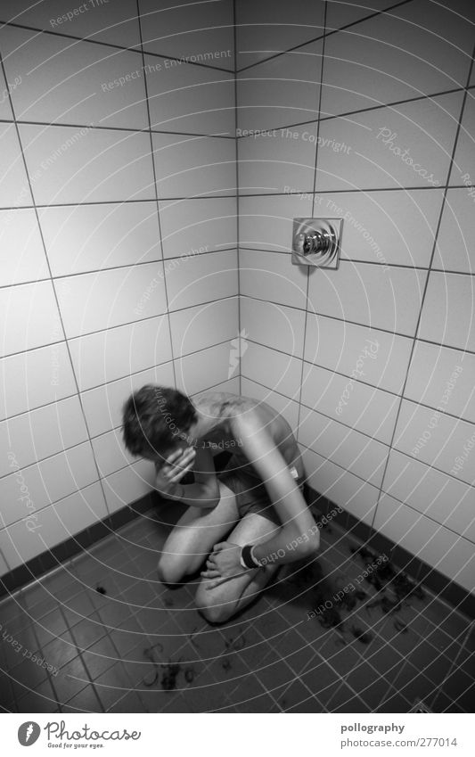 Wochenendstory (2.Teil) Mensch Mann Jugendliche Erwachsene Gefühle Haare & Frisuren Traurigkeit Junger Mann 18-30 Jahre maskulin Trauer Bad Fliesen u. Kacheln dünn Schmerz Verzweiflung