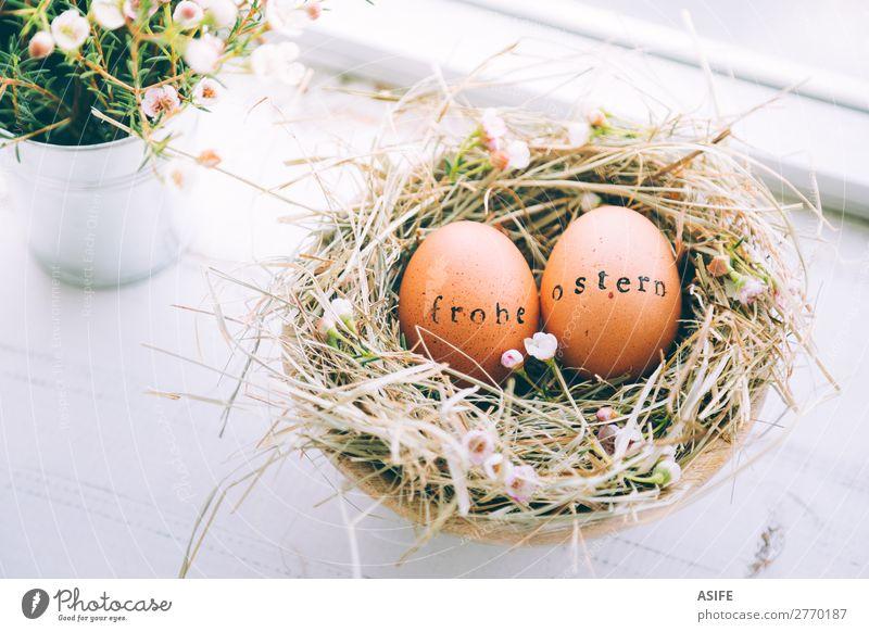 Ostereier mit Frohe Ostern Textmarke schön Handarbeit Dekoration & Verzierung Blume Gras Holz Ornament lustig natürlich niedlich Originalität weiß Tradition Ei
