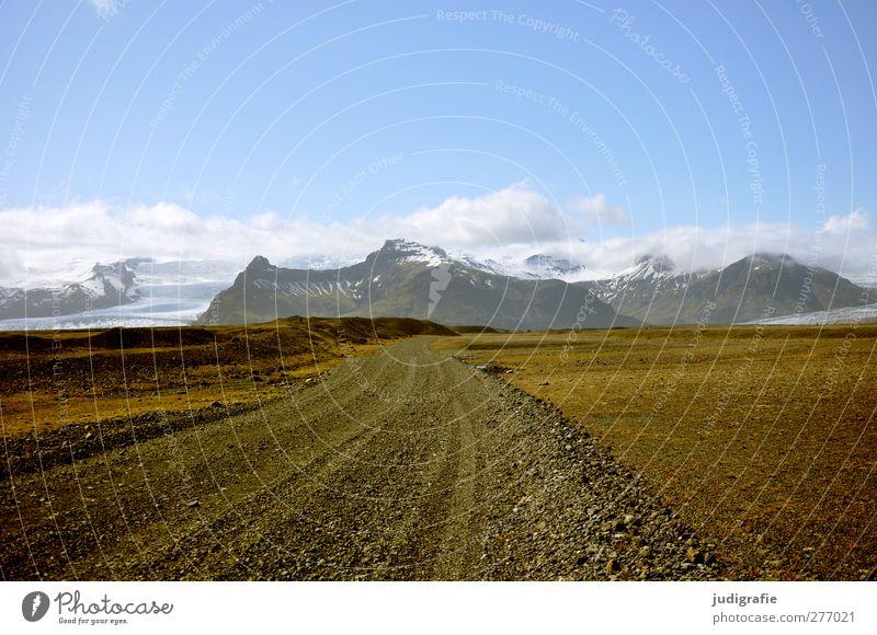 Island Umwelt Natur Urelemente Erde Himmel Wolken Klima Felsen Berge u. Gebirge Schneebedeckte Gipfel Gletscher Straße Wege & Pfade natürlich Idylle
