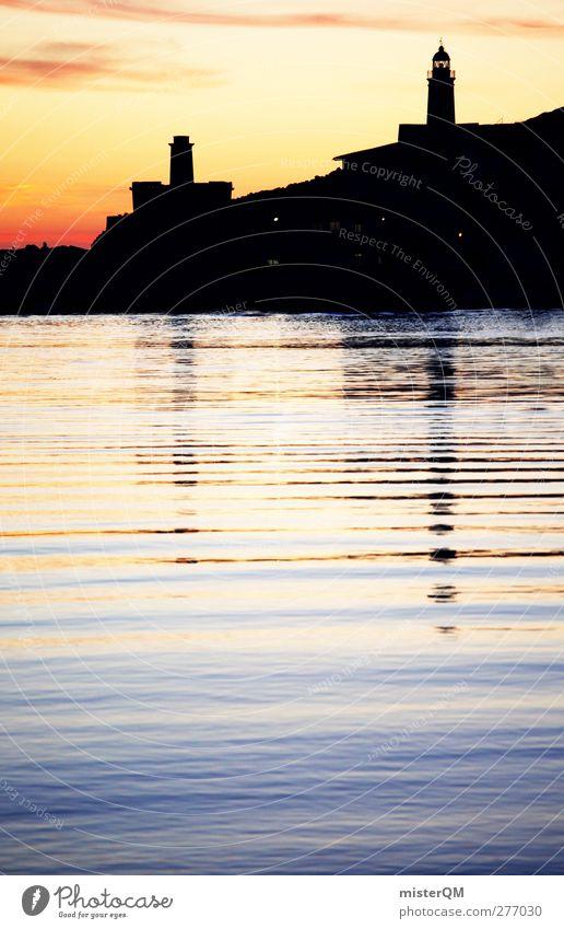 Port de Sóller. Ferien & Urlaub & Reisen Kunst ästhetisch Romantik Idylle Hafen Bucht Spanien Leuchtturm Mittelmeer Mallorca Hafenstadt Urlaubsfoto Urlaubsort