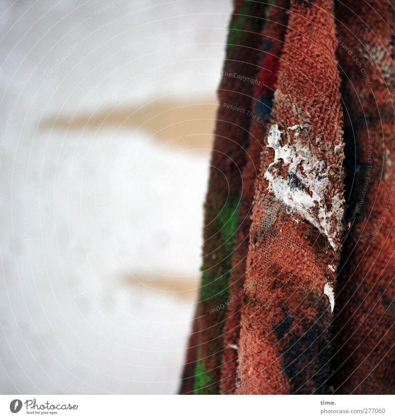 Kunst-Stoff Maler Atelier Werkstatt Putztuch Textilien Tuch authentisch dreckig einzigartig stachelig Leben gebraucht Arbeit & Erwerbstätigkeit Farbfoto