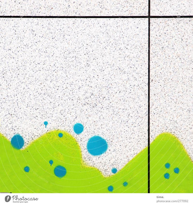 Berge mit Regentropfen (Fensterblick) Mauer Wand Fassade Farbstoff Kreis Stein Beton eckig blau grau grün Euphorie Leben erleben Inspiration Präzision