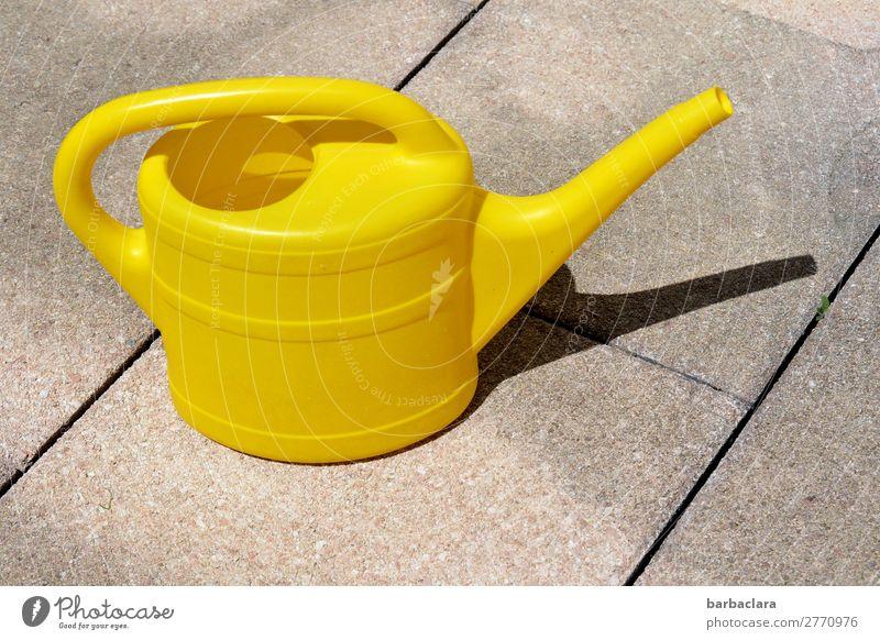 mal wieder gießen... Häusliches Leben Gartenarbeit Umwelt Wasser Terrasse Gießkanne Stein stehen Wärme gelb Farbe Wachstum Farbfoto Außenaufnahme Muster