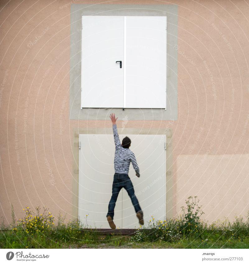 Wille Karriere Erfolg Mauer Wand Tür springen außergewöhnlich Willensstärke Beginn Entschlossenheit Hoffnung skurril Ziel Zukunft Motivation Farbfoto