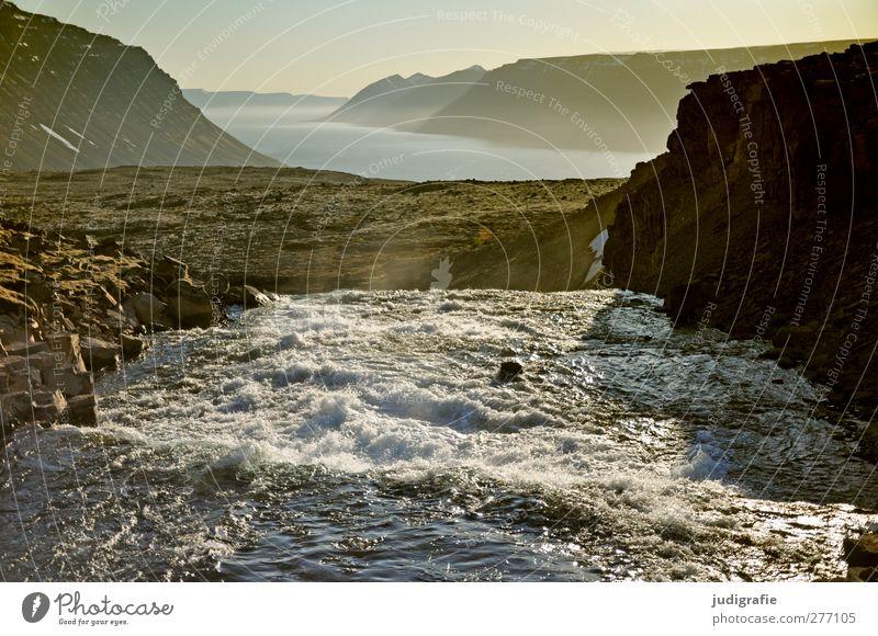 Island Natur Wasser Landschaft Umwelt Berge u. Gebirge Stimmung Felsen Klima natürlich wild Urelemente Fluss fantastisch fließen Wasserfall
