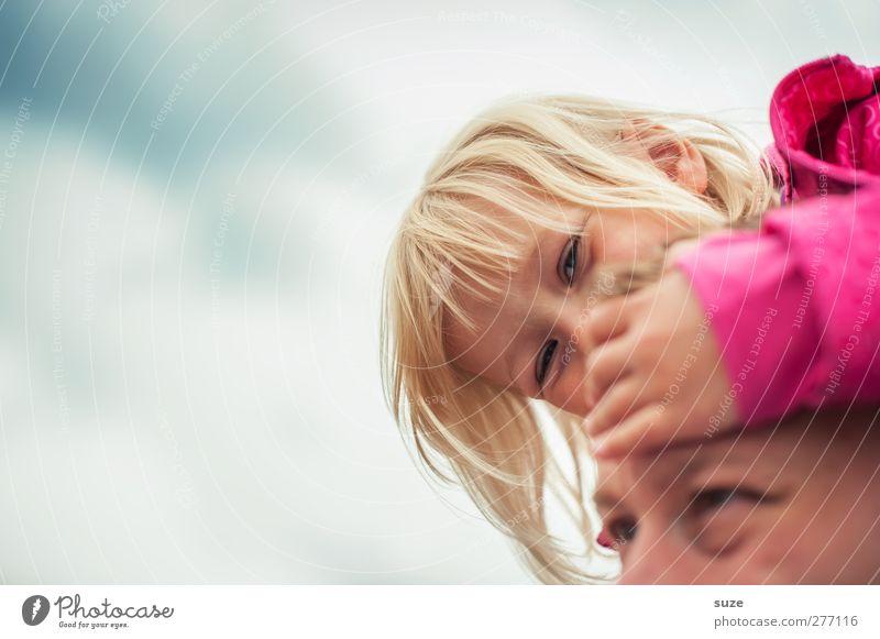 Papa ist der Beste Mensch Kind Himmel Sommer Mädchen Erwachsene Gesicht feminin Haare & Frisuren klein Glück Kopf Familie & Verwandtschaft rosa blond Kindheit
