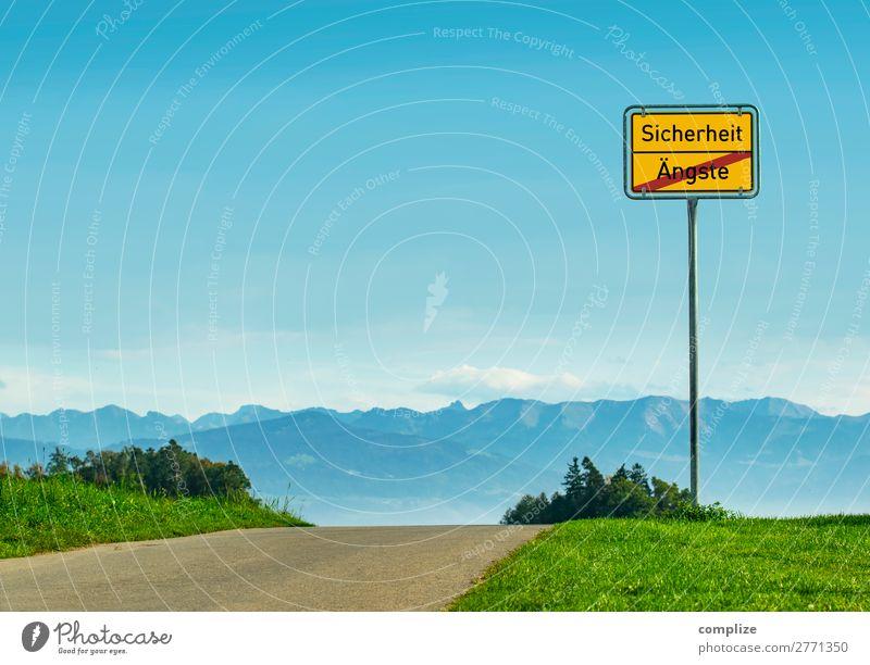 Sicherheit - Ängste Umwelt Natur Landschaft Himmel Wolken Horizont Sonne Wetter Schönes Wetter Pflanze Wiese Feld Alpen Berge u. Gebirge Verkehr Straßenverkehr