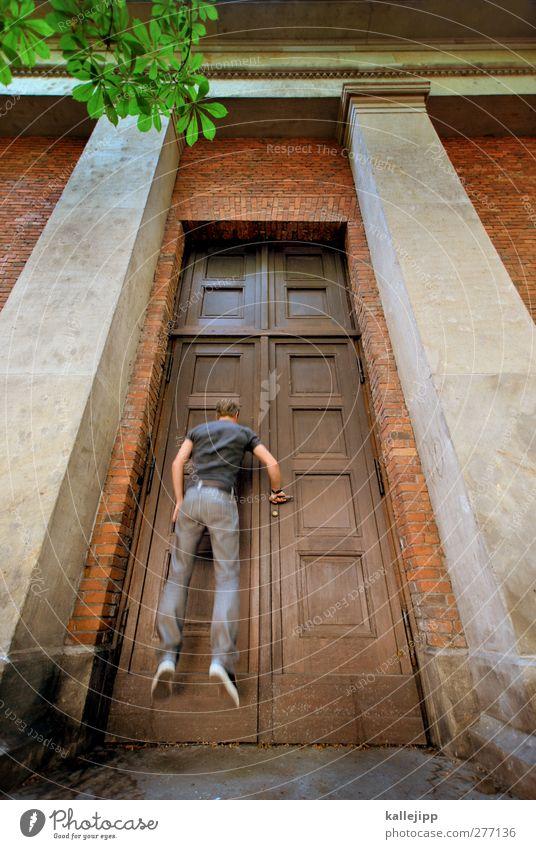 chancen eröffnen Mensch Mann Erwachsene Wand Holz Mauer springen Körper Tür groß maskulin Studium Bildung rein Eingang Säule
