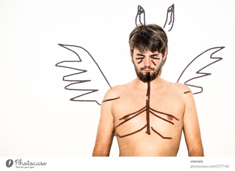 fuxteufel Mensch Mann Jugendliche Erwachsene nackt Stil Junger Mann Körper wild maskulin Lifestyle Flügel Wut Mut böse trashig