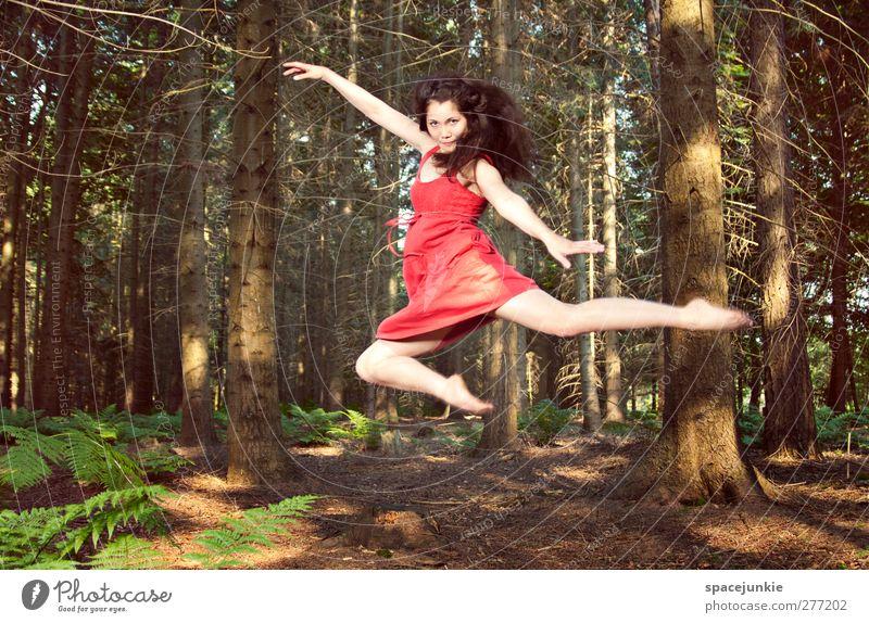 Flying through the woods Mensch Frau Natur Jugendliche Sommer Baum Pflanze rot Erwachsene Wald Landschaft feminin Junge Frau Körper Tanzen 18-30 Jahre