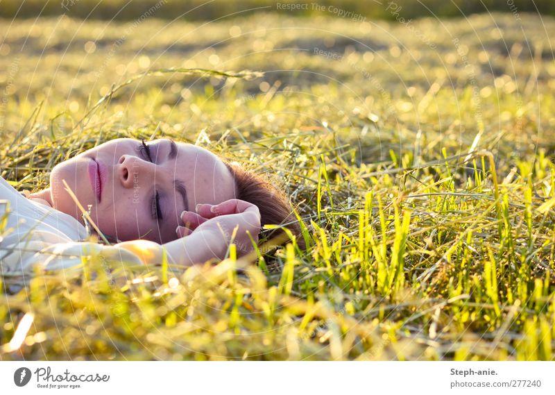 Den Sommer genießen. feminin Junge Frau Jugendliche Gesicht Hand Gras Wiese liegen schlafen träumen Glück natürlich positiv gelb grün Zufriedenheit Geborgenheit