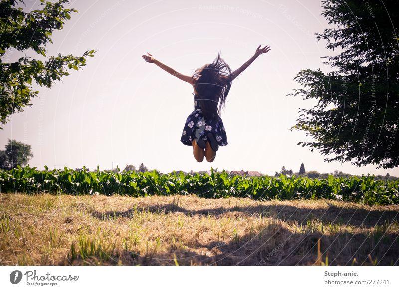 Freiheit Junge Frau Jugendliche Erwachsene Wolkenloser Himmel Sommer Baum Gras Wiese Feld Rock Kleid Bewegung genießen springen authentisch Fröhlichkeit positiv
