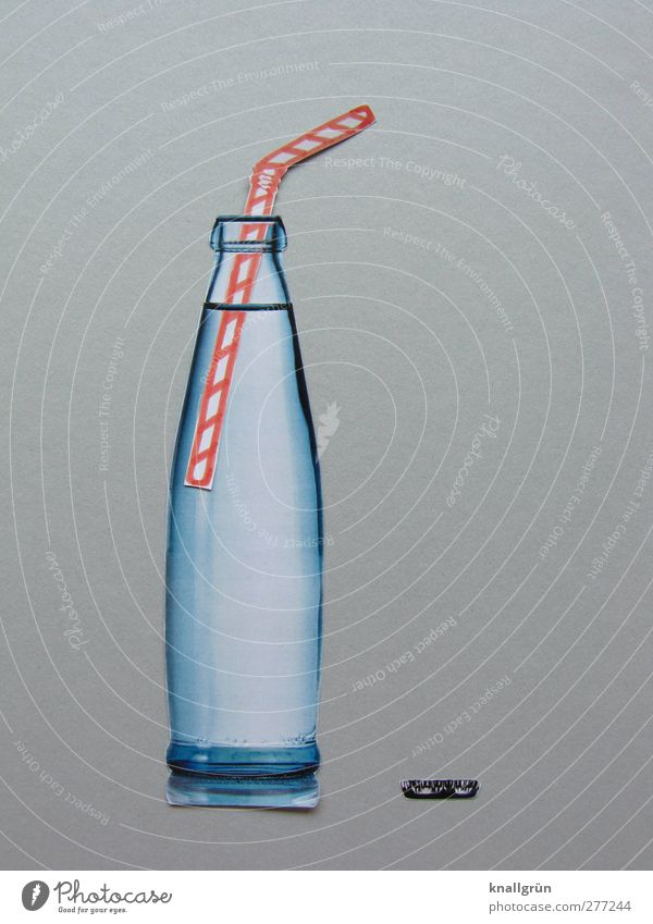 Durstlöscher Lebensmittel Getränk trinken Erfrischungsgetränk Trinkwasser Limonade Flasche Trinkhalm Kronkorken stehen Flüssigkeit Gesundheit kalt lecker nass