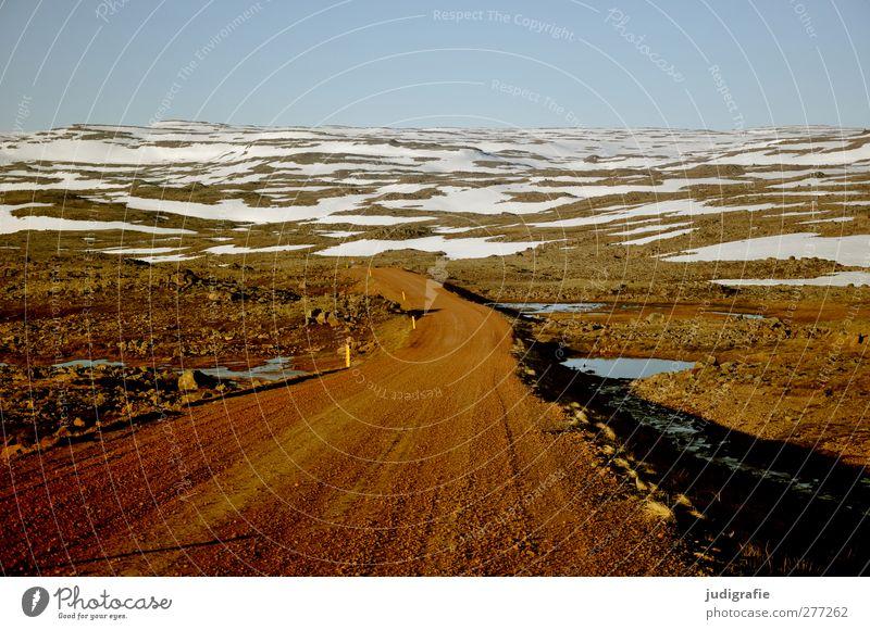 Island Umwelt Natur Landschaft Erde Wolkenloser Himmel Schnee Verkehrswege Straße Wege & Pfade kalt natürlich Einsamkeit Horizont ruhig Ferne Farbfoto