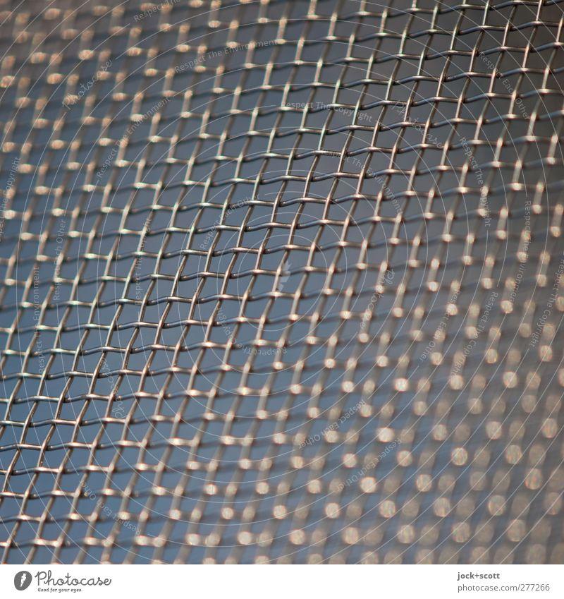 Licht Gitter Sieb Dekoration & Verzierung Metall Linie Streifen Netzwerk glänzend dünn fest nah blau Sicherheit Schutz ästhetisch Ordnung Perspektive Stimmung