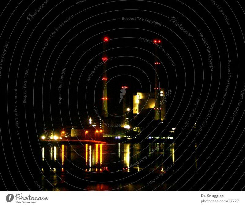 Nacht-Kraftwerk Wasser dunkel Beleuchtung Industrie Schornstein Stromkraftwerke Rhein Karlsruhe Rheinland-Pfalz Lichtermeer Wörth am Rhein