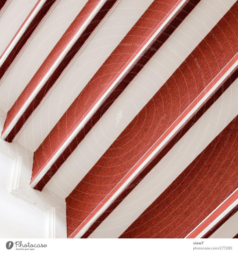 aufwärts rot Farbe Wand Mauer Innenarchitektur Linie Treppe Ordnung elegant Beginn modern frisch authentisch ästhetisch Perspektive Häusliches Leben